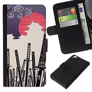 LECELL--Cuero de la tarjeta la carpeta del tirón Smartphone Slots Protección Holder For HTC Desire 820 -- JAPONESA DEL SAMURAI KATANA CEMENTERIO --