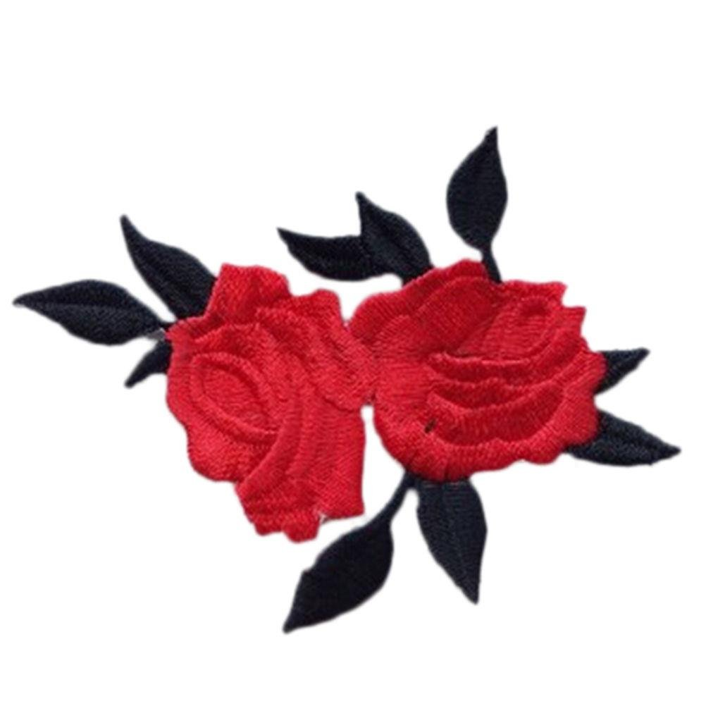 SevenMye 1 Piece Rose Flower Embroidery Iron On Applique Patch for Bags Jackets Trim Large vision