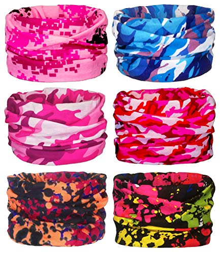 - Gorecio 4,6,9 PCS Face Scarf Headband Bandana Mask - 16 in 1 Headwear Multiuse Neck Gaiter Headwrap Balaclava Helmet Liner Dust Head Sport Sweatband for Face Shield Ski Men Cold Snowboard (Pink)