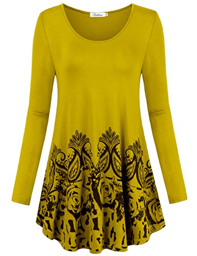 Faddare Spring Clothes, Slim Fit Comfy Mother's Day Gift Floral Tops for Women,Light Yellow M