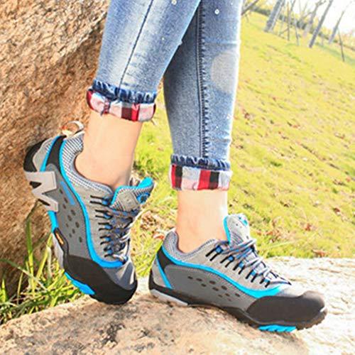 GIY gray Running Hiker Shoes Waterproof Hiking Climbing Outdoor Casual Anti Women's Trail blue Backpacking Slip Shoe Xxwq6rYUXc