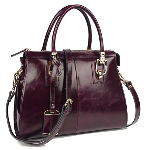 80920d670e8 Details about Womens/Lady's TopHandle Bags Handbag Luxury Wax Genuine  Leather Tote (Purple)