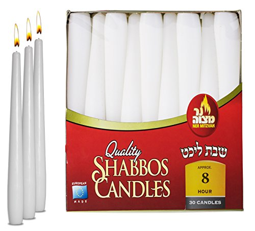Ner Mitzvah Classic White Taper Candles - 10 Inch – 30 Bulk Pack – for Shabbat, Dinner Tables, Restaurants, Ceremonies and Emergency - 8 Hour Burn Time ()