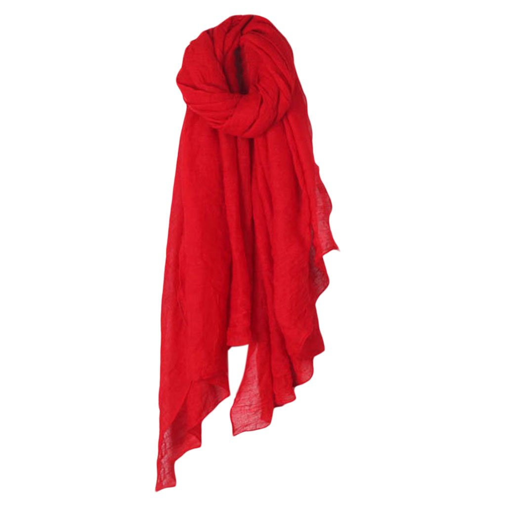 HBSHE Femmes Solide Couleur Longue /Écharpe Wrap Vintage Coton Linge Grand Ch/âle Hijab /Él/égant