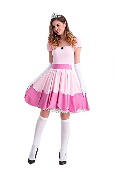 Amazoncom Womens Princess Peach Dress Deluxe Pink Sweet Cosplay Cl