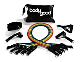 BodyGood Resistance Tube Band Set. 10 Piece Set Includes 5 Exercise Bands, 2 Handles, Door Anchor Ankle Strap. Best Home Gym Workouts & Fitness Training. Comes Free Instructional Video