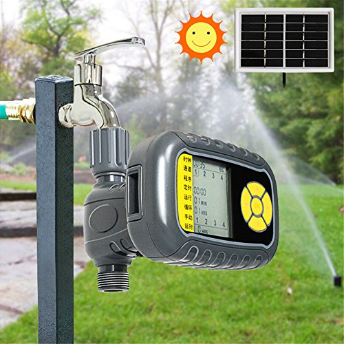 Pei Solar-Powered Automatic Water Timer Single Outlet Programmable Hose Faucet Timer Outdoor Garden Irrigation Controller