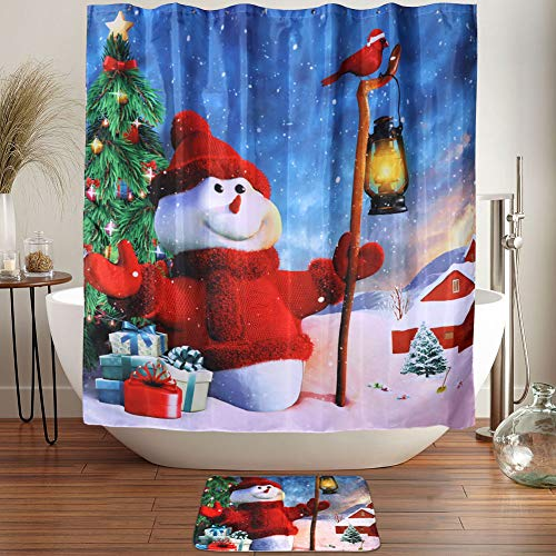 (OurWarm 72 x 72 Inch Shower Curtain Sets, Christmas Snowman Waterproof Shower Curtain Mat Bathroom Decorations)