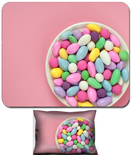 Liili Mouse Wrist Rest and Small Mousepad Set, 2pc Wrist Support IMAGE ID: 18985896 Jordan Almond Candies in a Dish on Pink Background 4 Pack Jordan Almonds