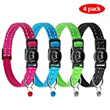 Didog Reflective Breakaway Safety Buckle Cat Collars - Set of 4 Pcs with Removable Bells for Most of Breeds - Puppy Small Cat