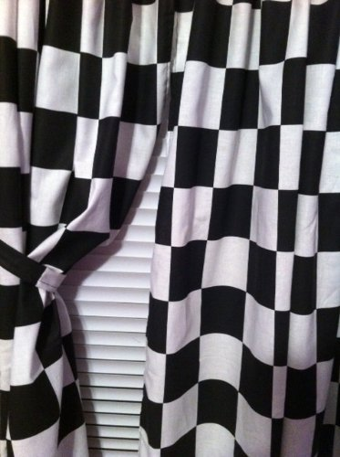 Amazon One Set Black White Block Check 43W X 54L WINDOW CURTAIN PANELS MADE FROM Nascar CHECKERED FLAG FABRIC Other Products Everything Else