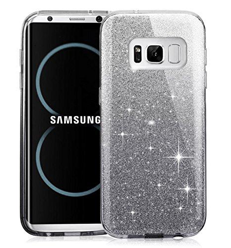 Galaxy S8 Case,Berry Accessory Luxury Shiny Sparkle Glittering TPU Bumper Ultra Thin Premium 3 Layer Hybrid Anti-Slick Soft TPU Protective Cover Case for Samsung Galaxy S8 2017 - Gradual Black