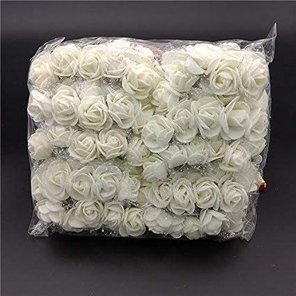 144pcs Artificial Flowers Mini Foam Roses with stem Wedding 2.5cm Small Flowers