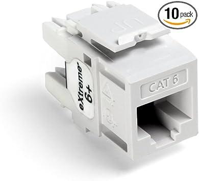 Leviton 61110 Ow6 Extreme Cat 6 Quickport Connector 10 Pack White Amazon Com