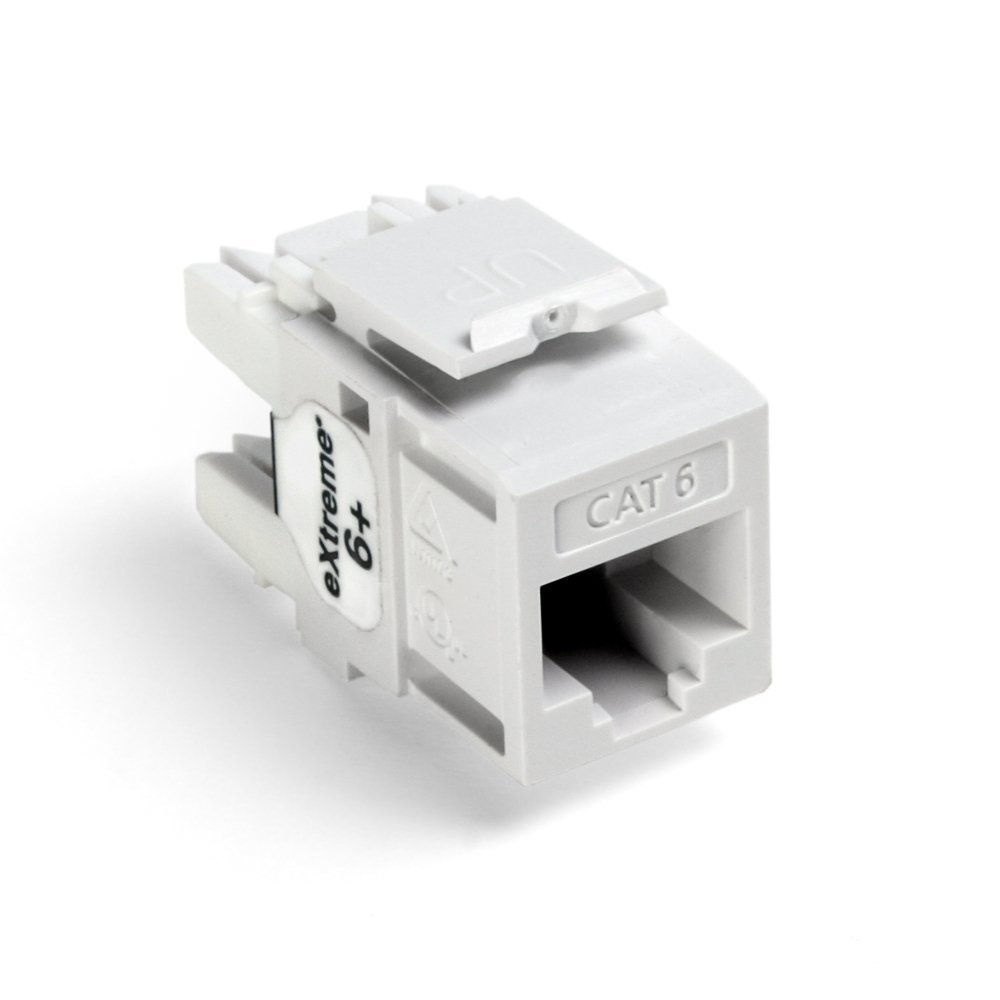 Leviton 61110 Rw6 8 Wire Cat6 Jack 1 Pack White Home Also Cat 6 Wiring Diagram Further Rj45 Connector Improvement