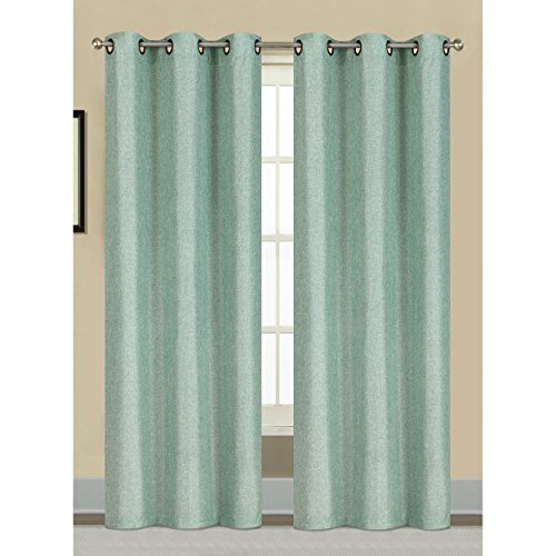 Window Elements Willow Textured Woven 76 x 84 in. Grommet Curtain Panel Pair, Harbor (Window Treatment Ideas)