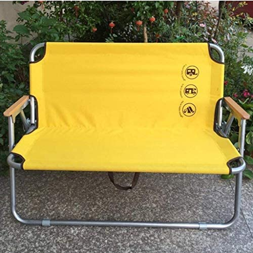 Chaise ZUQIEE à manger Chaise pliante Chaises Portable Double Camping, plage extérieure Jaune Chaise Lounge