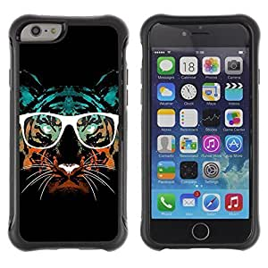 Hybrid Anti-Shock Defend Case for Apple iPhone 6 4.7 Inch / Hipster Glasses Cool Tiger WANGJING JINDA