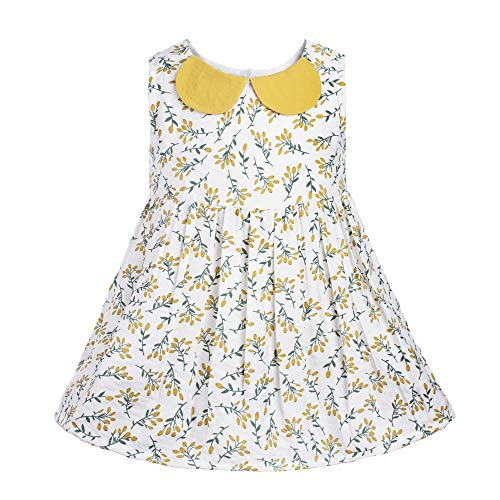 - COTTON FAIRY Baby Girls' Floral Printed Dresses with Ribbon Sleeveless Outfits for Summer, Yellow and White, 3T
