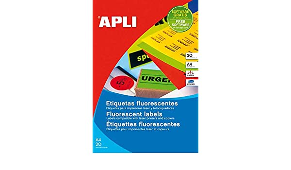 Caja Etiquetas Color/Fluor 100hojas A4 Aptas para Impresoras Laser ...