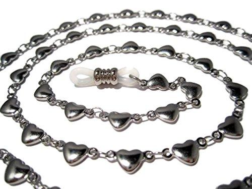 ATLanyards Solid Hearts Chain Eyeglass Holder - Solid Hearts Stainless Steel Eyeglass Chain