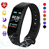 Fitness Tracker, Color Screen Activity Tracker Watch with Blood Pressure Blood Oxygen, IP67 Waterproof Weather Display Smart Band with Heart Rate Sleep Monitor Calorie Counter for Men, Women & Kids
