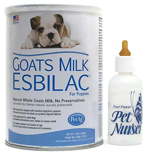 - Esbilac Goats Milk Replacement Powder 12 oz Puppies Four Paws Pet Nurser Bottle Bundle