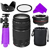 Professional Accessory Kit with Canon EF 75–300mm f/4–5.6 III Zoom Lens Bundle w/Auto Focus 2x Teleconverter Lens and High Definition UV Filter for Canon EOS Rebel T5, T6 Digital SLR Cameras