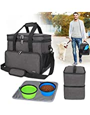 Teamoy Double Layer Dog Travel Bag with 2 Silicone Collapsible Bowls, 2 Food Carriers, 1 Water-Resistant Placemat, Pet Supplies Weekend Tote Organizer, Large, Black