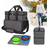 Teamoy Double Layer Dog Travel Bag with 2 Silicone Collapsible Bowls, 2 Food Carriers, 1 Water-Resistant Placemat, Pet Supplies Weekend Tote Organizer(Large, Black)