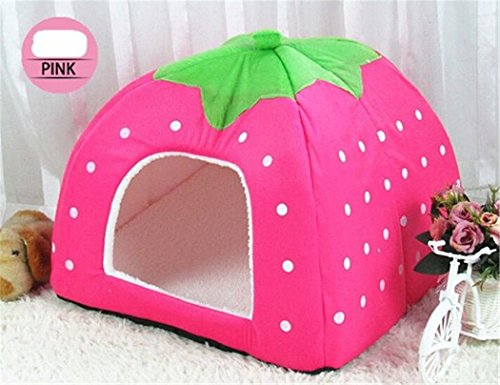 Prettysell Strawberry Cotton Soft Dog Cat Pet Bed House Sponge Dome Tent Bed Cushion (Bunny Nest)