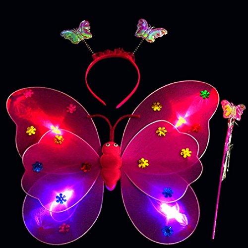 Binmer(TM) 3pcs/Set Girls Led Flashing Light Fairy Butterfly Wing Wand Headband Cosplay Photo Props Halloween Christmas Dress Costume Toy (Christmas Fairy Dress)