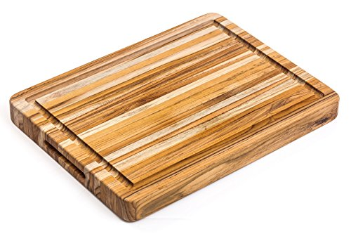 (Teakhaus Cutting Board - Teak Wood Rectangle Chopping Block With Hand Grips and Juice Canal, 6x21x1.5 Inches)