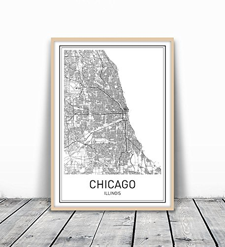 Chicago Print, Chicago Map, City Maps, Map Print, Map Art, Map of Chicago, Map Art Print, Black and White Map, Illinois, Illinois Map, Map Wall Art, Modern Cities, Minimalist Map Art, 8x10 - Chicago Illinois Map