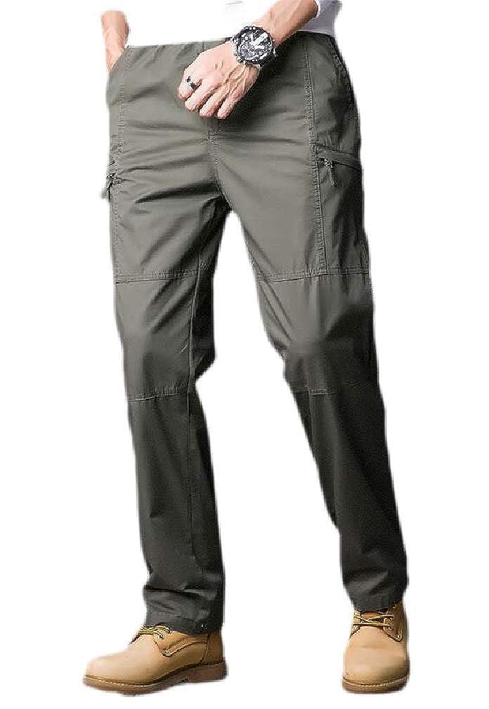 Hajotrawa Mens Straight Trousers Sport Outdoor High Waist Casual Pants