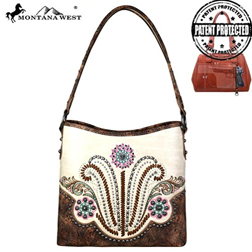 Carry Concho Montana Purse Ladies MW681G Beige Hobo Collection West Concealed H1wXfq01