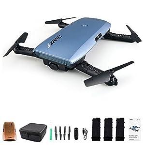 Beyondsky JJRC H47 Elfie WiFi Foldable Pocket FPV Drone 3 Batteries Mini Quadcopter with 720P Camera(Blue 3 Batteries)