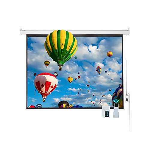 Cloud Mountain HD 100 inch 4:3 Home Office Projector Screen Electric Motorized Matte White Projection Screen, Remote Control Home Movie Theater TV 1.3 Gain by Cloud Mountain