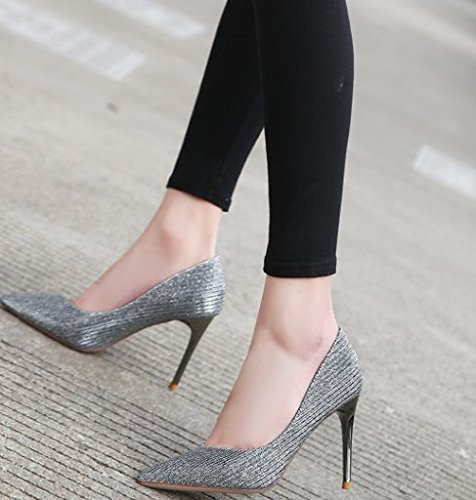 Heeled Work A 9Cm MDRW Leisure Nightclub Party Match With Dress All Elegant 34 High Shoes Point Sequins Shoes Fine Lady Sexy Spring Silver qSS8Xx6