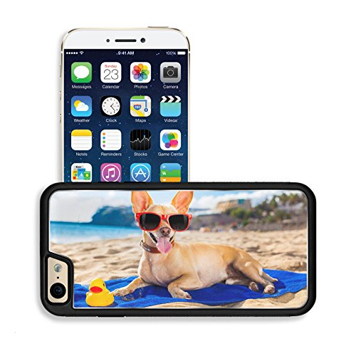 Luxlady Premium Apple iPhone 6 iPhone 6S Aluminum Backplate Bumper Snap Case IMAGE ID: 32316228 chihuahua dog at the ocean shore beach wearing red funny sunglasses smiling at - Emoji Sunglass Snap