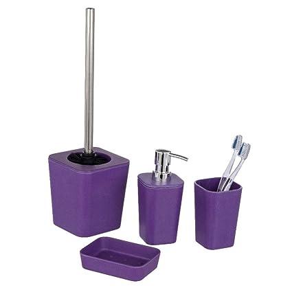 Wenko 4er mala WC Set natural Púrpura, 1 x dispensador de jabón, 1 x