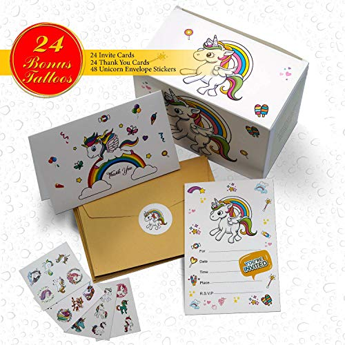 Unicorn Invitations Birthday Party Cards - 24 Invite Card + 24 Thank You Card + BONUS 24 Tattoos + 48 Envelopes and Stickers - Blank Inside Invites for Girls Boys Birthdays Kids Party Baby Shower]()
