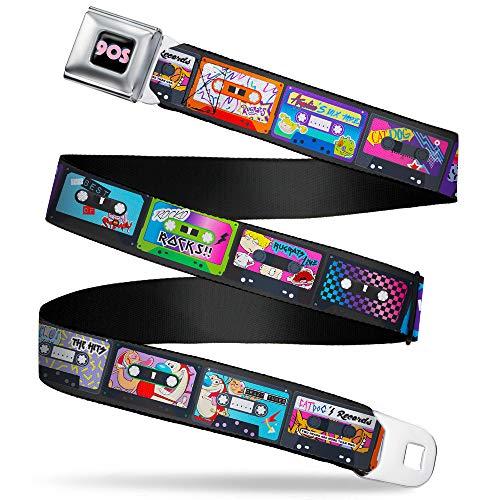 Nickelodeon cinturón de seguridad con hebilla para hombre, Nick 90's Rewind Regular, Nickel 'Sample Rewind Mash Up Cassette...
