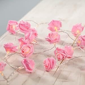 Guirnalda de 30 luces de LED de rosas color de rosa de Lights4fun