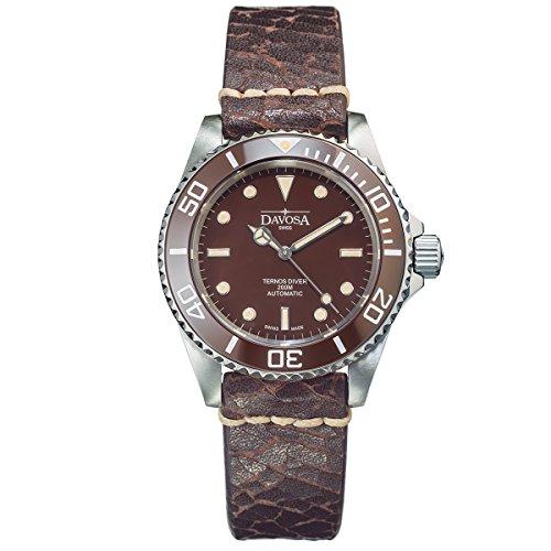 Davosa Swiss Ternos Vintage 16155595 Diver Men Wrist Watch Brown Genuine Leather