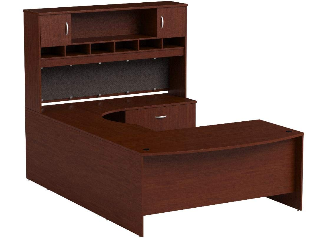 Bush Business Furniture Series C 72W Right Handed Bow Front U Shaped Desk with Hutch and Storage in Mahogany by Bush Business Furniture (Image #7)