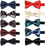 Elegant Pre-tied Bow ties Formal Tuxedo Bowtie Set with Adjustable Neck Band,Gift Idea For Men And Boys(5/8/10