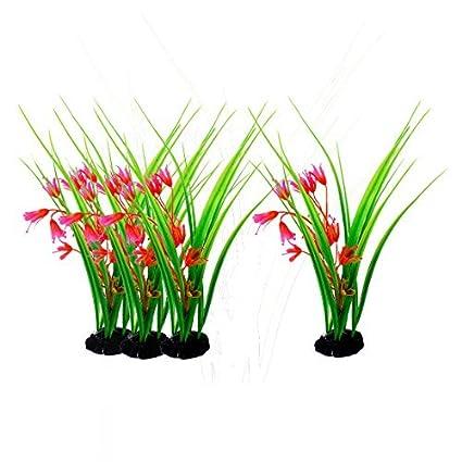 eDealMax Plantas Peces de plástico tanque de acuario artificiales Bajo el agua decoración Verde Rojo DE