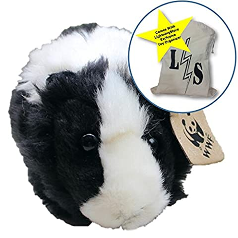 LightningStore Adorable Chocolate Chip Oreo Black and White Guinea Pig Doll Realistic Looking Stuffed Animal Plush Toys Plushie Children's Gifts Animals + Toy Organizer Bag - Doug Plush Border Collie