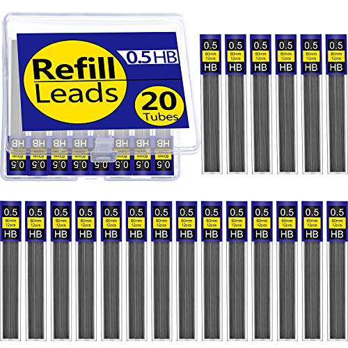 Pencil Plastic Refill - Tatuo 20 Tubes HB Black 0.5 mm Lead Refills Mechanical Pencil Refills with Plastic Box, 240 Pieces